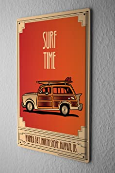 sport plaque maill e temps temps de surf vamea bay hawaii hawaii voiture. Black Bedroom Furniture Sets. Home Design Ideas
