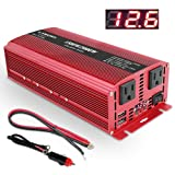 Lvyuan 1500W/3000W Power Inverter Dual AC Outlets and Dual USB Charging Ports DC 12V to 110V AC Car 12V Inverter Converter with Digital Display 4 External 40A Fuses for Blenders, vacuums, power tools (Color: Red)