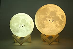 Extra Large!!! 7.3 Inch Gahaya Moon Lamp, 3D Printed Light, Touch Control, Stepless Dimmable, Warm White & Cool White, PLA material, USB Recharge