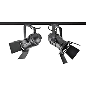 J.LUMI TRK9000 Theater Track Lighting Head, Stage Light with Barn Door Flippers, Black Frost Paint Finish, Vintage Modern Industrial, Uses PAR30, A19 or ST64 Bulb with E26 Base (Bulb not Included) (Color: Black, Tamaño: Round Profile)