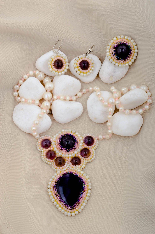 Handmade Schmuck Set Ring Damen Modeschmuck Ohrringe Collier Halskette elegant schenken