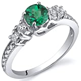 Simulated Emerald Solstice Ring Sterling Silver Size 8