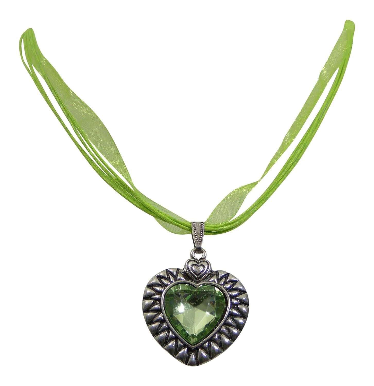 Dirndl Herzerl Kette – Trachtenkette mit schlichtem Kristall Herzanhänger kaufen