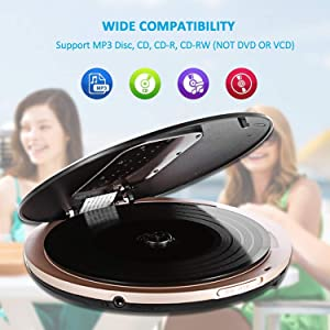 Portable CD Player, Personal Compact Disc CD Player with Headphones, Anti-Skip/Shockproof Protection Small Music Walkman MP3 Players with LCD Display for Adults Students Kids, Gift for Car Use (Color: CD511)