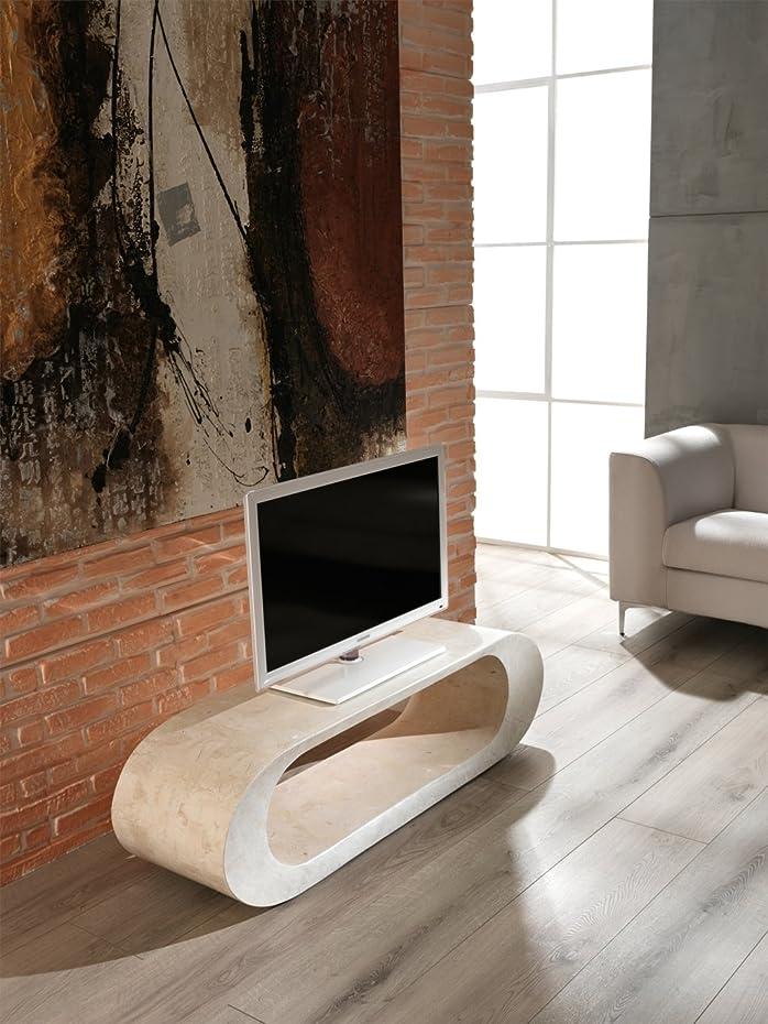 Tavolino porta TV di pietra fossile Chloe. Dimensioni altezza 35 P 35 L 130