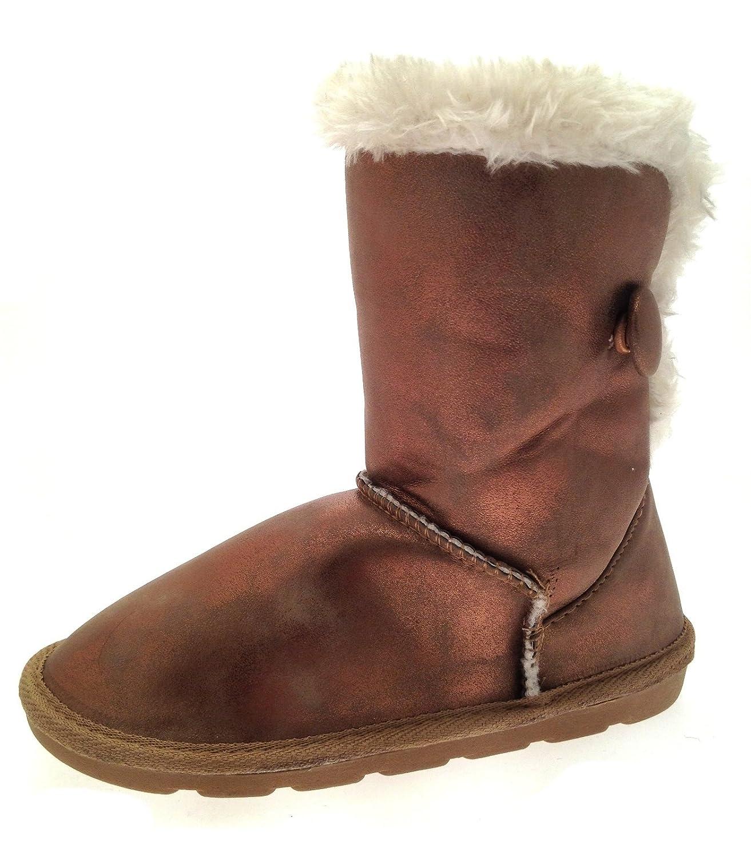 Kinder Mädchen Jungen Stiefeletten, kurz, wadenlang, aus Wildleder, mit Fell-Rand, Knopf, Klett Snugg Winter Stiefel Gr. 6-2 Schuh günstig bestellen