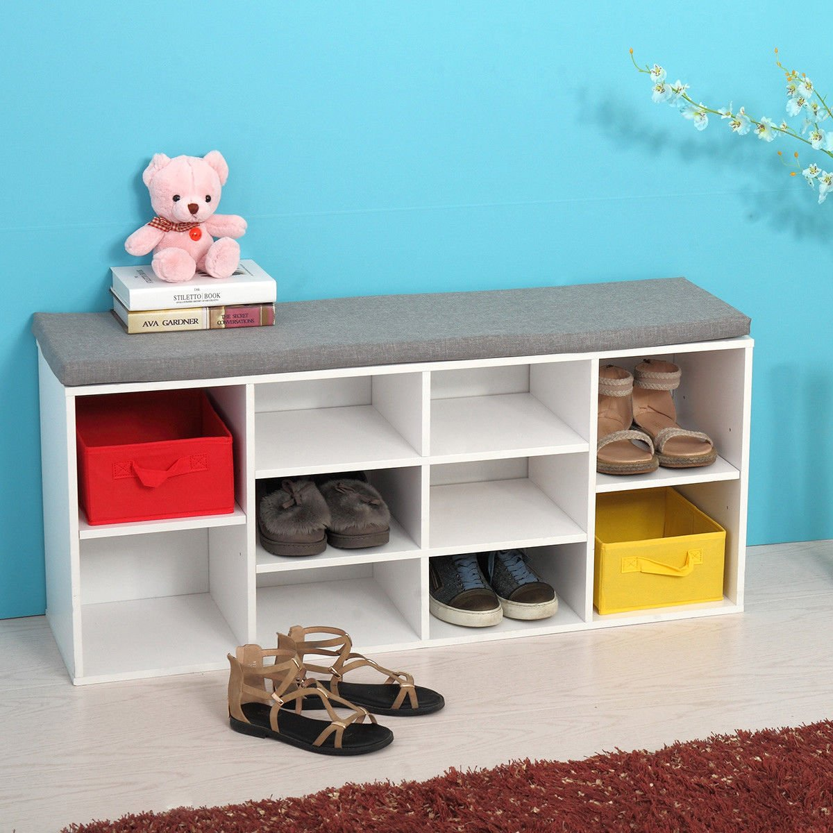 JAXPETY White Shoe Storage Cubbie Shoe Bench Fabric Wood Shoe Rack Storage Organizer