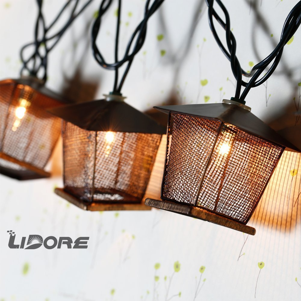 LIDORE 10 Counts Vintage Bronze Iron Nets Lanterns Plug-in