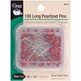 Dritz 68-6 Pearlized Pins, Long, Red, 1-1/2-Inch (100-Count) (Color: Red, Tamaño: 1-1/2-Inch)