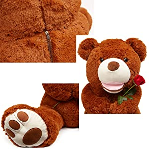LApapaye Giant Teddy Bears Stuffed Animal Plush Toy with Footprints Big Bear Life Size for Girlfriend (DB-50inch) (Tamaño: DB-125cm/50inch)