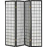 Coaster Home Furnishings Oriental Shoji 4 Panel Folding Privacy Screen Room Divider - Black (Color: Black, Tamaño: 4 Panel)