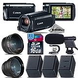 Canon VIXIA HF R800 Camcorder (Black) + Backup Battery + 0.43X Wide Angle Lens + 2.2x Telephoto Lens + Shotgun Microphone + 16GB Class 10 + Stabilizing Handle - International Version
