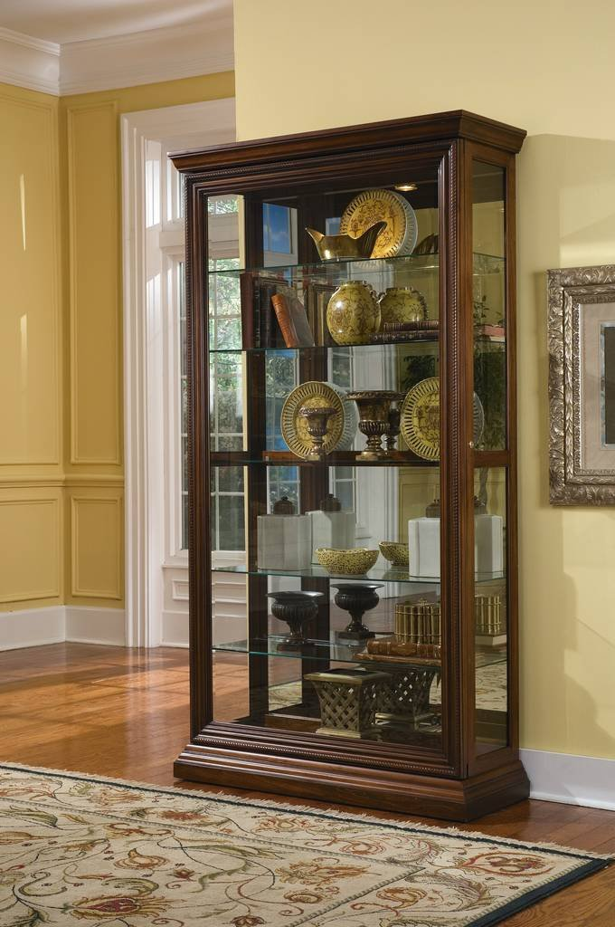 Pulaski Two Way Sliding Door Curio, 43 by 16 by 80-Inch, Brown
