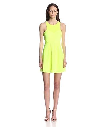 DV by Dolce Vita Women's Celest Mesh Lace Knit Dress, Neon Yellow, Small