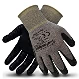 CustomGrips Cut Resistant Work Gloves. Span-Nylon Liner, Level 4 Abrasion Resistance, Nitrile Foam Palm Coated for Utility Grade. Superior Grip Power on Oily & Wet Environment. [X-Large, 12 Pairs] (Color: 12 Pairs, Tamaño: X-Large)