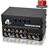 Metal Case Mechanical 4-way AV Switch CVBS RCA Splitter 4 Port Switch Adapter 4 In 1 Out Composite L/R Audio Video Switcher Selector BOX for DVD STB G