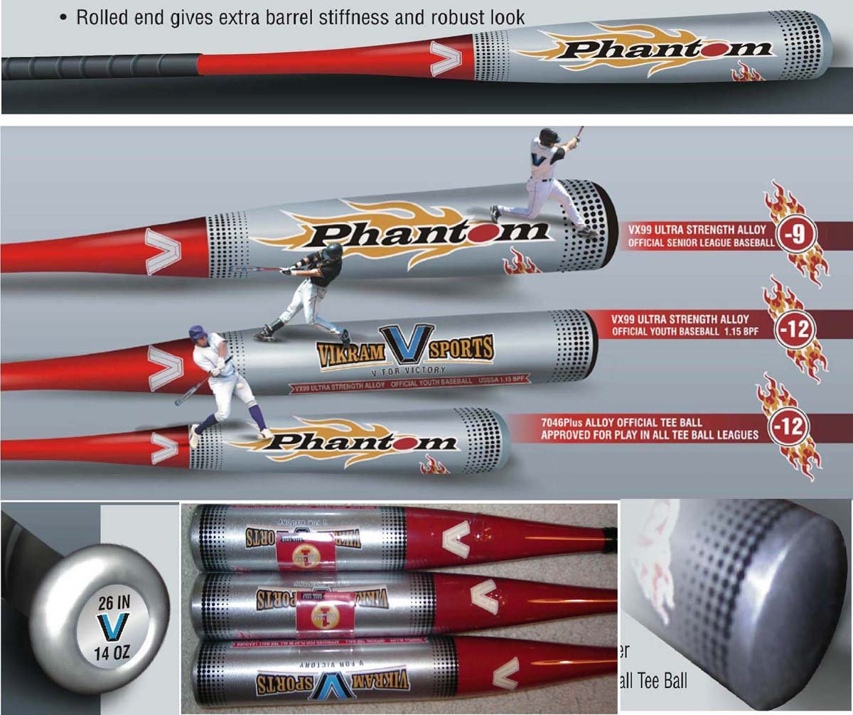 Brand NEW 2015 Phantom Tee Ball Bat 26 Inch 14 oz (-12) made from 7046 Plus Aerospace Alloy by Vikram Sports at Factory Direct Price vikram seth a suitable boy