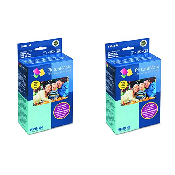 ( T5845-M PictureMate Print Pack Includes Inkjet Cartridge, 100 Sheets Matte Photo Paper 2 Pack (Color: 2 PACK, Tamaño: 2 PACK)