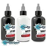 StarBrite Colors Sterilized Tattoo Ink - White Black 3 Bottle Set 1/2 oz (Color: multi, Tamaño: 0.5 oz)