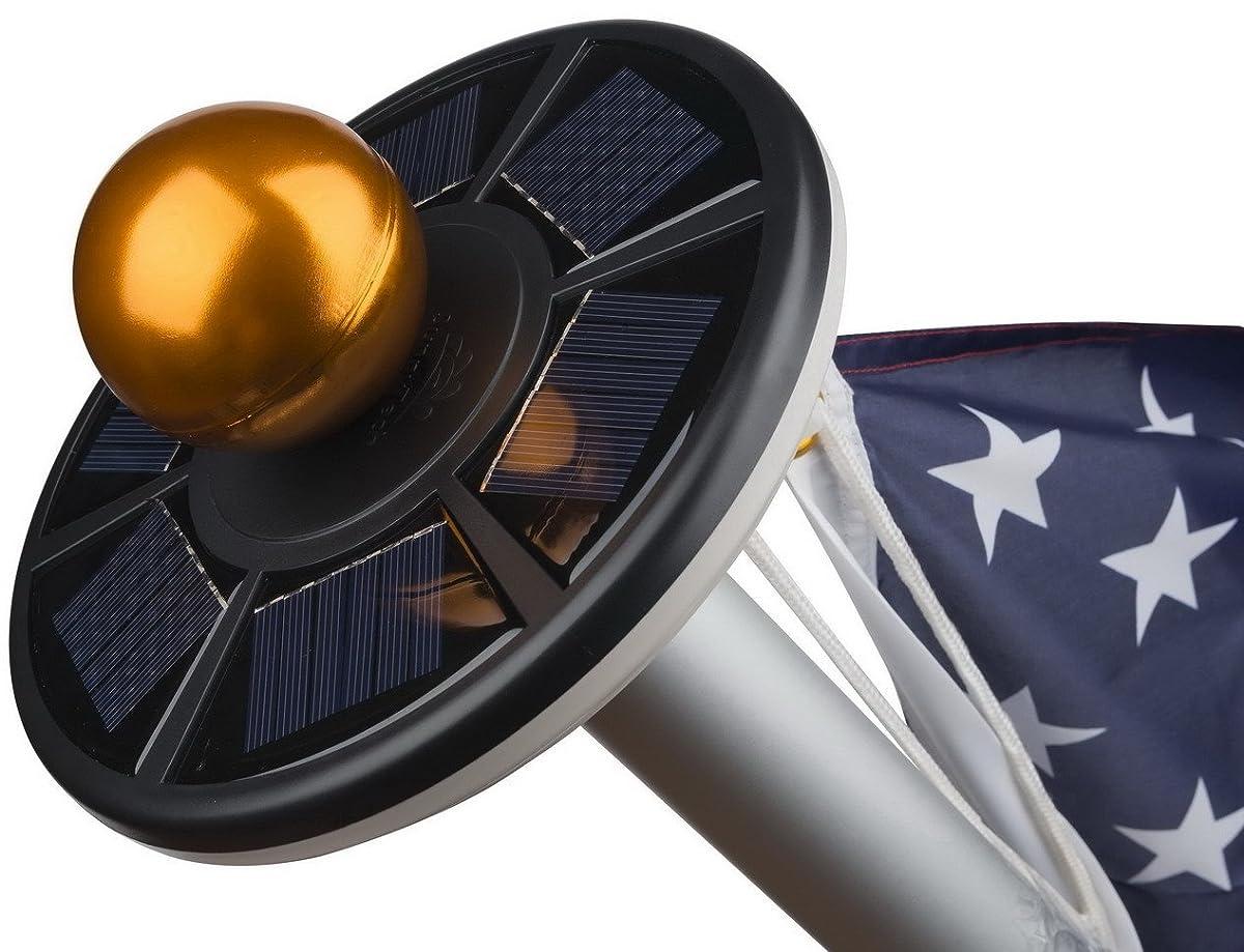 Sunnytech 2nd Generation Solar Flag Pole 20led Light ,Brightest, Longest Lasting & Most Flag Coverage, Downlight Lights up Flag on Most 15 to 25 Ft Flagpole for Night Lighting White+Black Shell