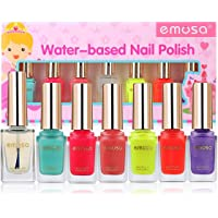 Emosa Non-Toxic Water-Based Peelable Kid-Friendly Nail Polish Set (Assorted Colors)