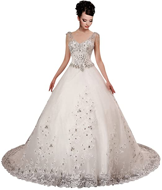 A-plum White Strap Ball Gown In Lace Layered Wedding Dress
