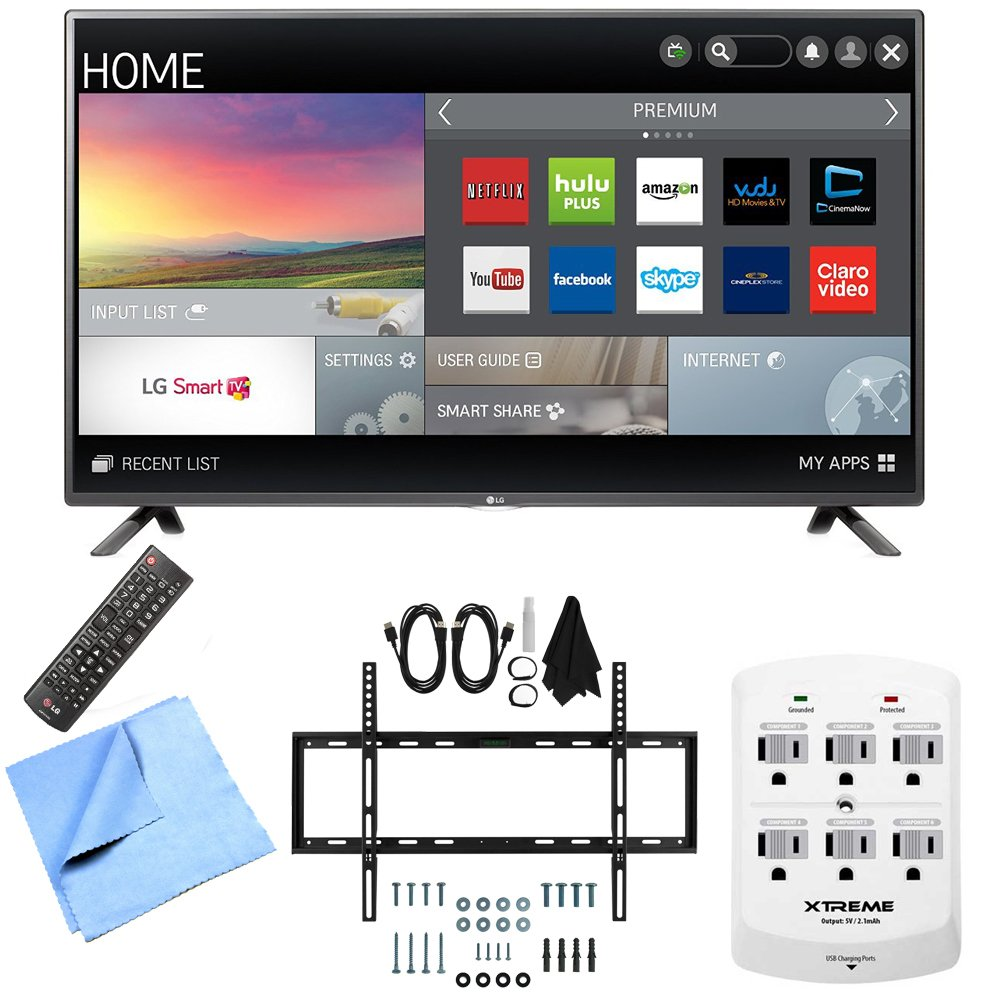 LG 42LF5800 - 42-Inch Full HD 1080p 60Hz Smart LED HDTV Mount & Hook-Up Bundle includes 42-Inch Full HD 1080p 60Hz Smart LED HDTV, Slim Flat Wall Mount Kit, 6 Outlet Wall Tap w/ 2 USB Ports and Microfiber Cloth