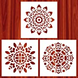 Stencils   Mandala Painting Stencil   Stencils for Painting (12x12 inch Large Size) on Wood/Wall/Floor/Tile/Fabric/Furniture Decor   Mandala Dotting Tools Reusable by AK KYC (Color: # 1)
