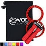 WOD Nation Attack Speed Jump Rope by - Adjustable Jumping Ropes - Unique 2 Cable Skipping Workout System - 1 Heavy and 1 Light 11' Cable - Perfect for Double Unders - Fits Men and Women (Color: Red)
