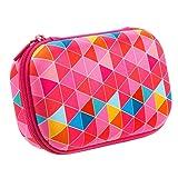 ZIPIT Colorz Pencil Case/Pencil Box/Storage Box/Cosmetic Makeup Bag, Pink (Color: Pink Triangles)