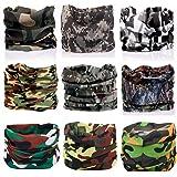 KALILY 9pcs/6pcs Headwear Wide Headbands Scarf Head Wrap Mask Sweatband -12 in 1 Multifunctional Sport Headband Neck Warmer for Yoga, Camping, Fishing, Hiking, Running, Motorcycling, Skiing (Color: G Pack, Tamaño: Medium)