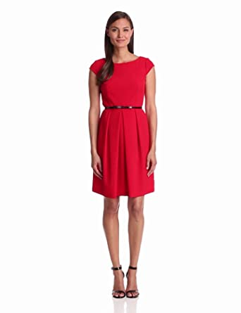 Adrianna Papell Women's Cap Sleeve Seamed A-Line Dress, Red, 2