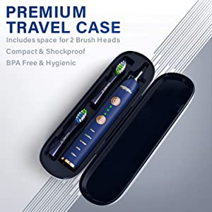 WAGNER Switzerland WHITEN+ EDITION. Smart electric toothbrush with PRESSURE SENSOR. 5 Brushing Modes and 3 INTENSITY Levels, 8 DuPont Bristles, Premium Travel Case, USB Wireless charging. (Color: Blue)