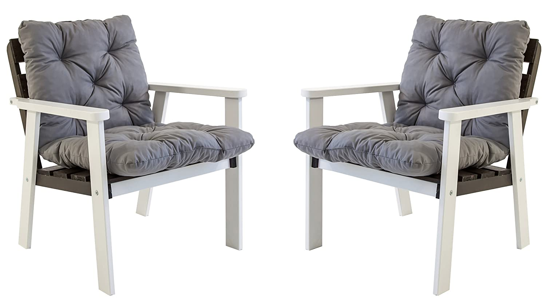Ambientehome Gartensessel Loungesessel Sessel Gartenstuhl Massivholz inkl. Kissen HANKO, Weiß/Taupegrau, 2-teiliges Set bestellen
