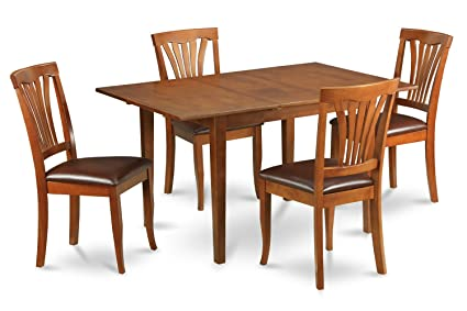 East West Furniture PSAV7-SBR-LC 7-Piece Dinette Table Set