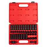 Sunex 3342, 3/8 Inch Drive Master Impact Socket Set, 42-Piece, SAE/Metric, 5/16 Inch - 3/4 Inch, 8mm - 19mm, Standard/Deep, Cr-Mo Alloy Steel, Radius Corner Design, Chamfered Opening, Dual Size Markings, Heavy Duty Storage Case, Meets ANSI Standards, Includes Universal Joint and Extensions (Tamaño: SAE & Metric Impact Set)
