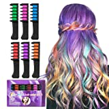 BATTOP Bright Hair Chalk Set-Metallic Glitter Hair chalk comb for Kids and Party (6 Pcs-Comb) (Tamaño: 6 Pcs-Comb)