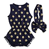 Baby Girl Clothes Gold Dots Bodysuit Romper Jumpsuit One-pieces Outfits Set (0-6 Months, Navy Blue) (Color: Navy Blue, Tamaño: 0-6 Months)