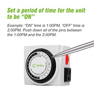 Century Heavy Duty Mechanical Timer Dual Outlet - 24 Hours (Color: White, Tamaño: 1 Pack)