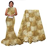 pqdaysun African Lace Fabrics 5 Yards 2019 Nigerian Lace French Beaded Tulle Fabric for Wedding Party (Gold) (Color: gold, Tamaño: 5 yards)