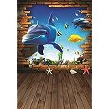 AOFOTO 3x5ft Cartoon Dolphin Backdrop 3D Marine Life Photography Background Undersea World Fish Animal Photo Studio Props Kid Baby Boy Girl Child Toddler Artistic Portrait Party Decor Vinyl Wallpaper (Color: CA-A7, Tamaño: 3x5ft)