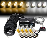 Xprite 160W 8 White & Yellow(Amber) HID Bulbs Hide-A-Way Emergency Hazard Warning Strobe Lights (Color: White & Yellow)