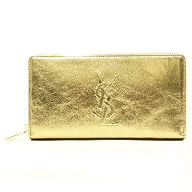 Amazon.com: Saint Laurent \u0026#39;YSL\u0026#39; Belle du Jour Metallic Leather Zip ...