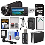 Sony Handycam HDR-CX440 8GB Wi-Fi 1080p HD Video Camera Camcorder with 64GB Card + Hard Case + LED Light + Battery & Charger + Tripod + Kit (Color: Black)