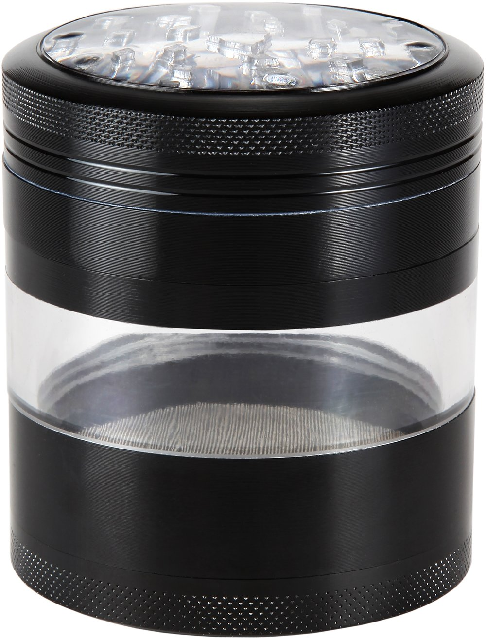 Zip Grinders #1 Best Rated Large Spice & Herb Grinder - Four Piece with Pollen Catcher - Premium Aerospace Grade Aluminum 3.25 Inches Tall (Black) Buy Now With Confidence!