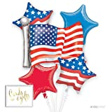Andaz Press Balloon Bouquet Party Kit with Gold Cards & Gifts Sign, 4th of July Patriotic American Party Foil Mylar Balloon Decorations, 1-Set (Color: Fourth of July)