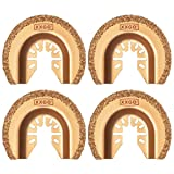 XXGO 4 Pcs Semicircle Oscillating Multi Tool Blades Carbide for Grit Grout Removal XG8504 (Color: Gold)