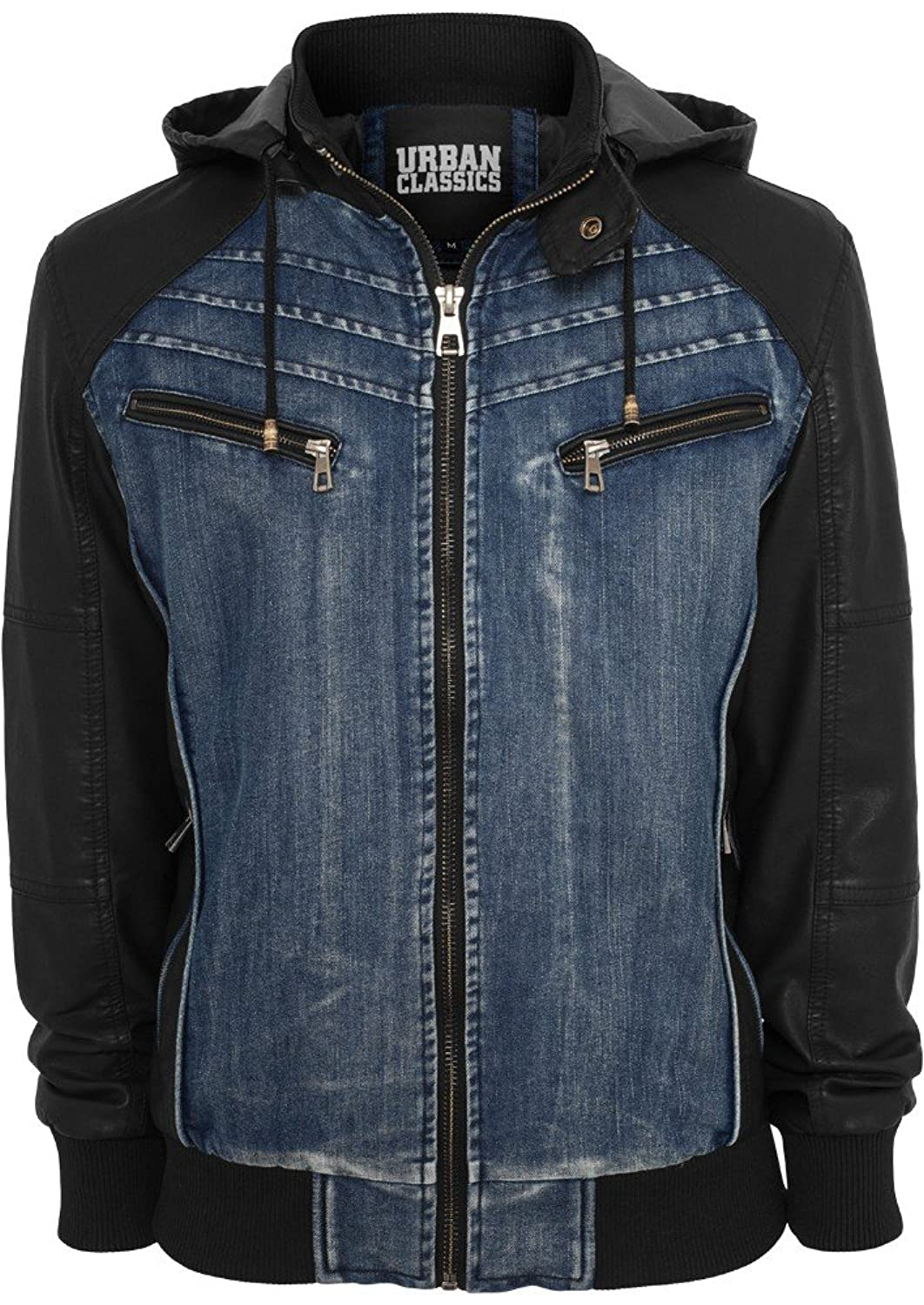 TB675 Hooded Denim Leather Jacket Herren Jacke Jeans Kapuze online bestellen