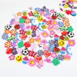 PARK AVE 100 Silicone Charms - Variety Pack - Compatible with All Common Bracelet Rubber Band Loom Kits - Colorful Assorted Designs for Childrens' Jewelry, Arts & Crafts, Party Favor Supplies (Color: Assorted)