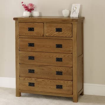 Rustic Oak 2 over 4 Drawer Chest